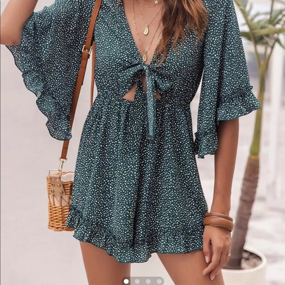 Shein Ruffle Romper with Tie Front Size 4